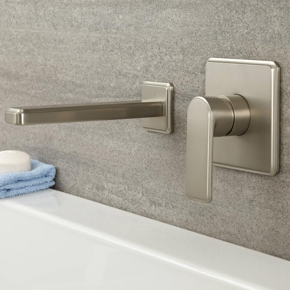 Wall Mount Nickel Brushed LED Bathroom Basin Mixer Faucet Tub Single Lever Taps