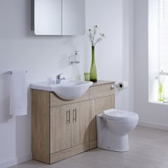 Milano Classic Oak 1140mm Vanity and WC Combination Unit with Pan and Cistern