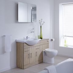 Milano Classic Oak 1240mm Vanity and WC Combination Unit with Pan and Cistern