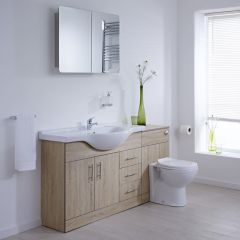 Milano Classic Oak 1540mm Vanity and WC Combination Unit with Pan and Cistern