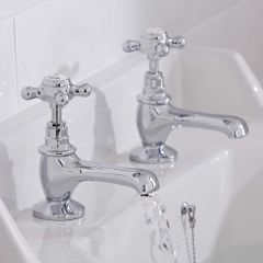 Hudson Reed Topaz Chrome Basin Taps Hexagonal Collars