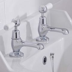 Hudson Reed Topaz Lever Basin Taps Dome Collars