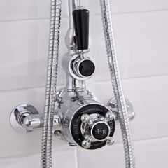 Hudson Reed Twin Exposed Traditional Shower Valve Chrome/Black