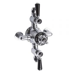 Hudson Reed Triple Exposed Traditional Shower Valve - Chrome/Black