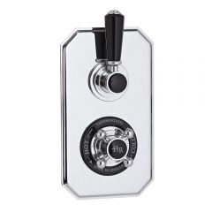 Hudson Reed Twin Concealed Traditional Diverter Shower Valve - Chrome/Black