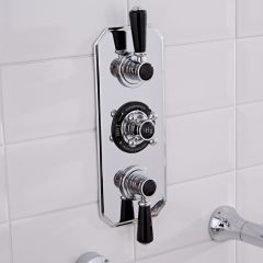 Hudson Reed Triple Concealed Traditional Shower Valve - Chrome/Black