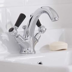Hudson Reed Topaz Traditional Lever Mono Basin Mixer Tap Chrome/Black Dome Collar