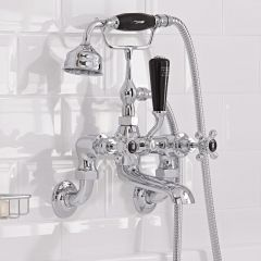 Hudson Reed Topaz Black Crosshead Wall Mounted Bath Shower Mixer with Shower Kit