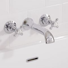 Hudson Reed Topaz Wall Mounted Bath Spout and Stop Taps Hexagonal Collars