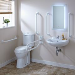 Premier White Doc M Pack Disabled Bathroom Toilet, Basin and Grab Rails