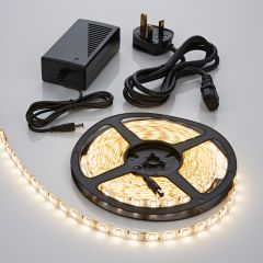 Biard 5 Metre 5050 Warm White LED Bathroom Strip Light Kit Waterproof with Power Supply - 300 LEDs