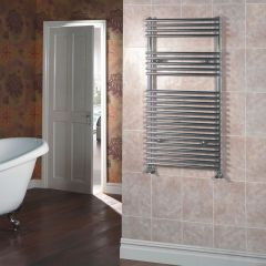 Kudox - Chrome Flat Bar on Bar Heated Towel Rail - 1150mm x 600mm