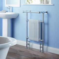 Milano Trent - Traditional Brass Heated Bathroom Towel Radiator Rail 930mm x 620mm