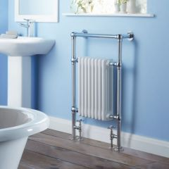 Milano Trent - Traditional Brass Heated Bathroom Towel Radiator 930mm x 620mm