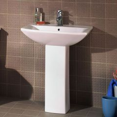 Premier Asselby - 600mm Basin and Pedestal - 1 Tap-Hole