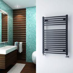 Milano Brook - Anthracite Curved Heated Bathroom Towel Radiator Rail - 800mm x 600mm
