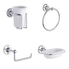 Milano Bathroom Accessory Set 4 Piece