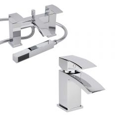Milano Wick Basin & Shower Bath Mixer Tap Set