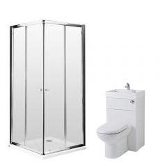 Milano 900mm Corner Entry En Suite Set With Combination Toilet & Basin Unit & Tap & Waste