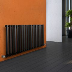 Milano Aruba - Luxury Black Horizontal Designer Radiator 635mm x 1180mm
