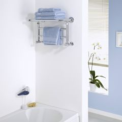 Milano Pendle - Chrome Heated Towel Rail with Heated Shelf 294mm x 532mm