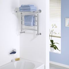 Milano Pendle - Chrome Heated Towel Rail with Heated Shelf - 494mm x 532mm