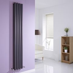 Milano Viti - Anthracite Diamond Panel Vertical Designer Radiator - 1780mm x 280mm (Double Panel)