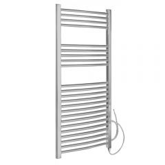 Kudox - Chrome Curved St&ard Electric Heated Towel Rail - 1200mm x 600mm