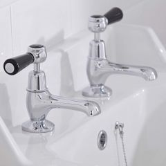 Hudson Reed Topaz Traditional Lever Mixer Basin Taps Chrome/Black Dome Collars