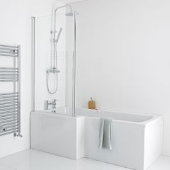 Milano 1700mm Square Shower Bath Panels & Screen - Left Hand