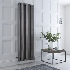 Milano Windsor - Traditional Lacqured Raw Metal Vertical Column Radiator - 1800mm x 563mm (Triple Column)