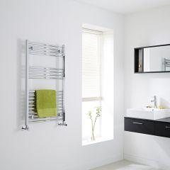 Milano - Curved Chrome Heated Towel Rail - 1000mm x 600mm