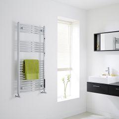 Milano - Chrome Curved Heated Towel Rail - 1200mm x 600mm