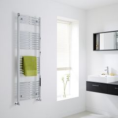 Milano Curved Chrome Heated Towel Rail 1500mm x 500mm