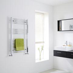 Milano - Flat Chrome Heated Towel Rail - 1000mm x 600mm