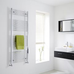 Milano - Flat Chrome Heated Towel Rail - 1500mm x 600mm