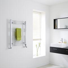 Milano - Chrome Flat Heated Towel Rail - 800mm x 600mm