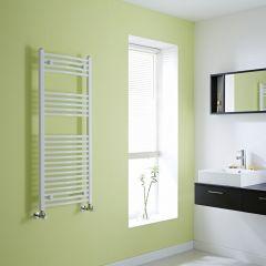 Milano Calder - White Curved Heated Towel Rail - 1200mm x 500mm