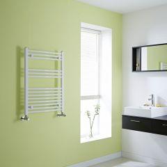 Milano Calder - White Curved Heated Towel Rail - 800mm x 600mm