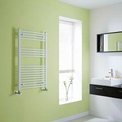 Milano Calder - Curved White Heated Towel Rail - 1000mm x 600mm
