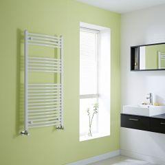 Milano Calder - Curved White Heated Towel Rail - 1200mm x 600mm