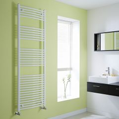 Milano Calder - Curved White Heated Towel Rail - 1800mm x 600mm