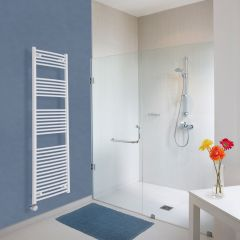 Milano Calder Electric - Curved White Heated Towel Rail - 1800mm x 500mm