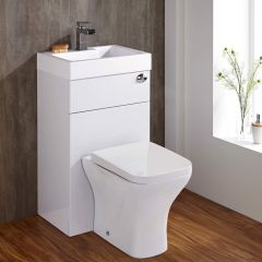 Milano Harrison - Combination Toilet & Basin Unit - White Gloss