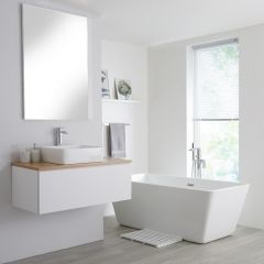 Milano Oxley - 1000mm White Vanity Unit with Oak Top and Basin