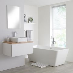 Milano Oxley - 800mm White Vanity Unit with Oak Top and Basin