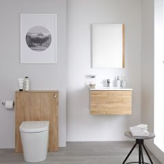 Milano Oxley - 600mm Modern WC Unit with Back to Wall Toilet and Flush Plate - Golden Oak
