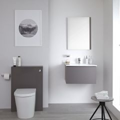 Milano Oxley - 600mm Modern WC Unit with Back to Wall Toilet and Flush Plate - Matt Grey