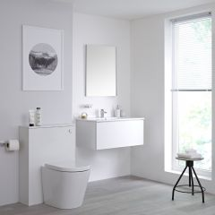Milano Oxley 800mm Vanity Unit with Basin, WC unit and Back to Wall Pan - Matt White