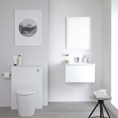 Milano Oxley - 600mm Modern WC Unit with Back to Wall Toilet and Flush Plate - Matt White
